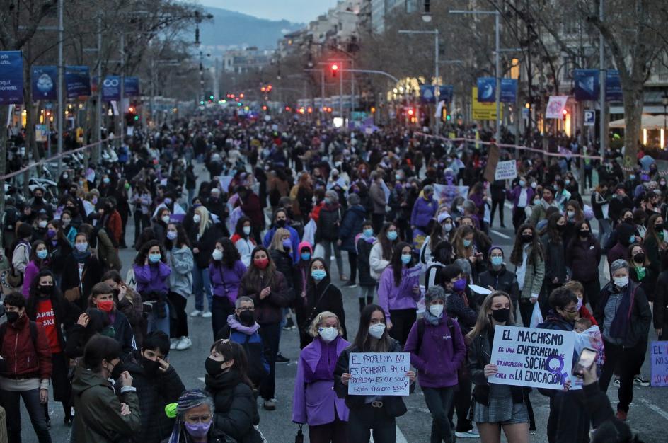 Concentración en Barcelona este 8 de marzo con motivo del Día de la Mujer Trabajadora.