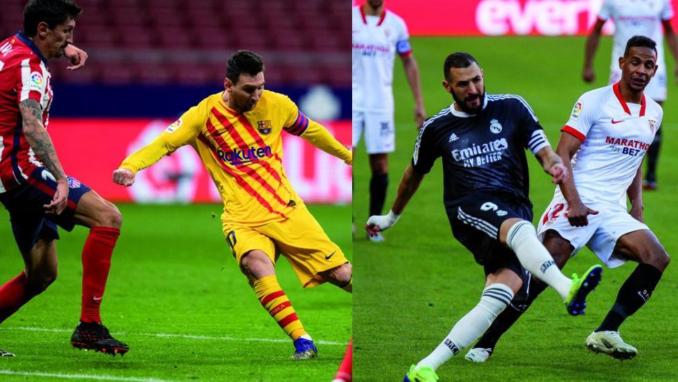 Todo queda por decidir aún en la parte superior de la tabla clasificatoria, con los encuentros entre el FC Barcelona- Atlético de Madrid y el Real Madrid- Sevilla FC.