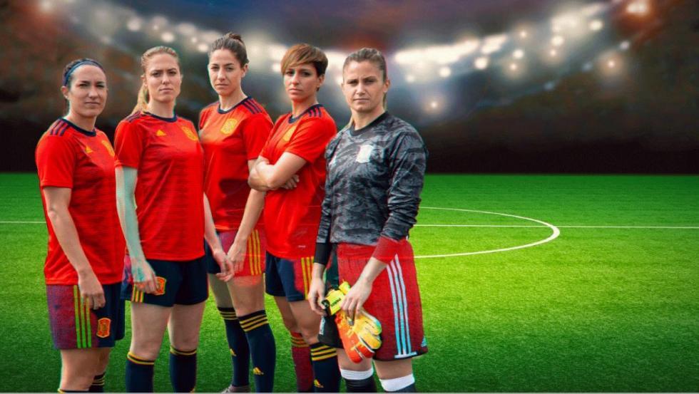 Las jugadoras de la selección española Silvia Meseguer, Celia Jiménez, Vicky Losada, Marta Corredera y Sandra Paños.