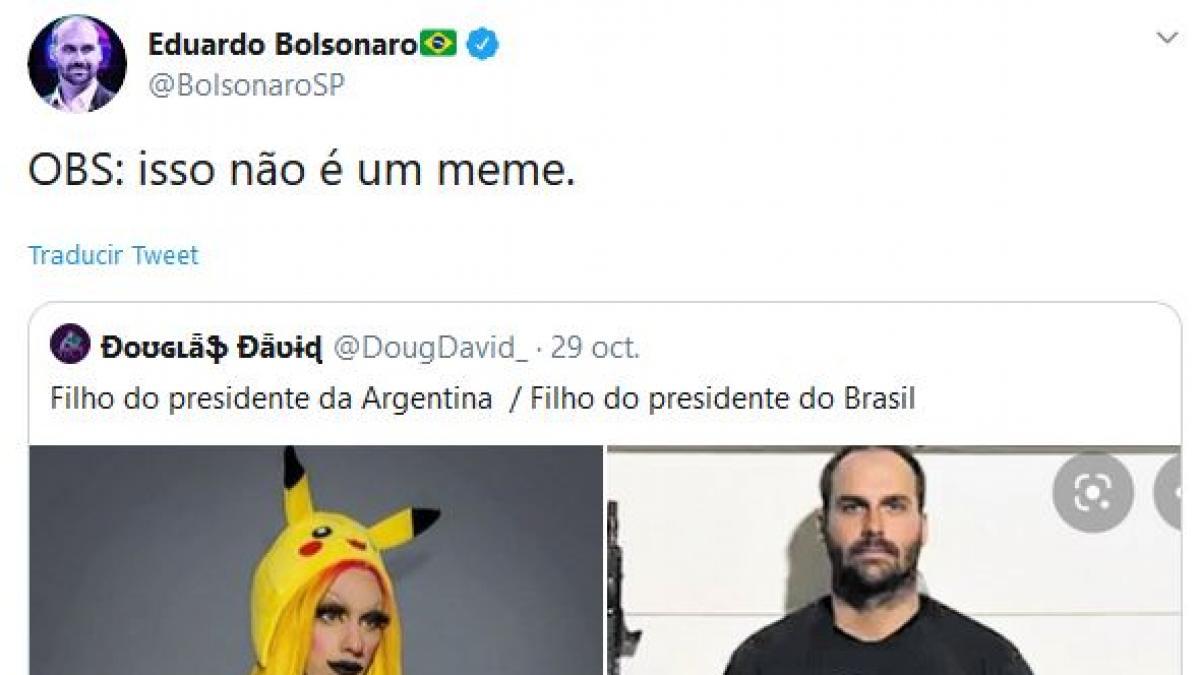 El hijo de Bolsonaro se burla del hijo gay del nuevo presidente de Argentina