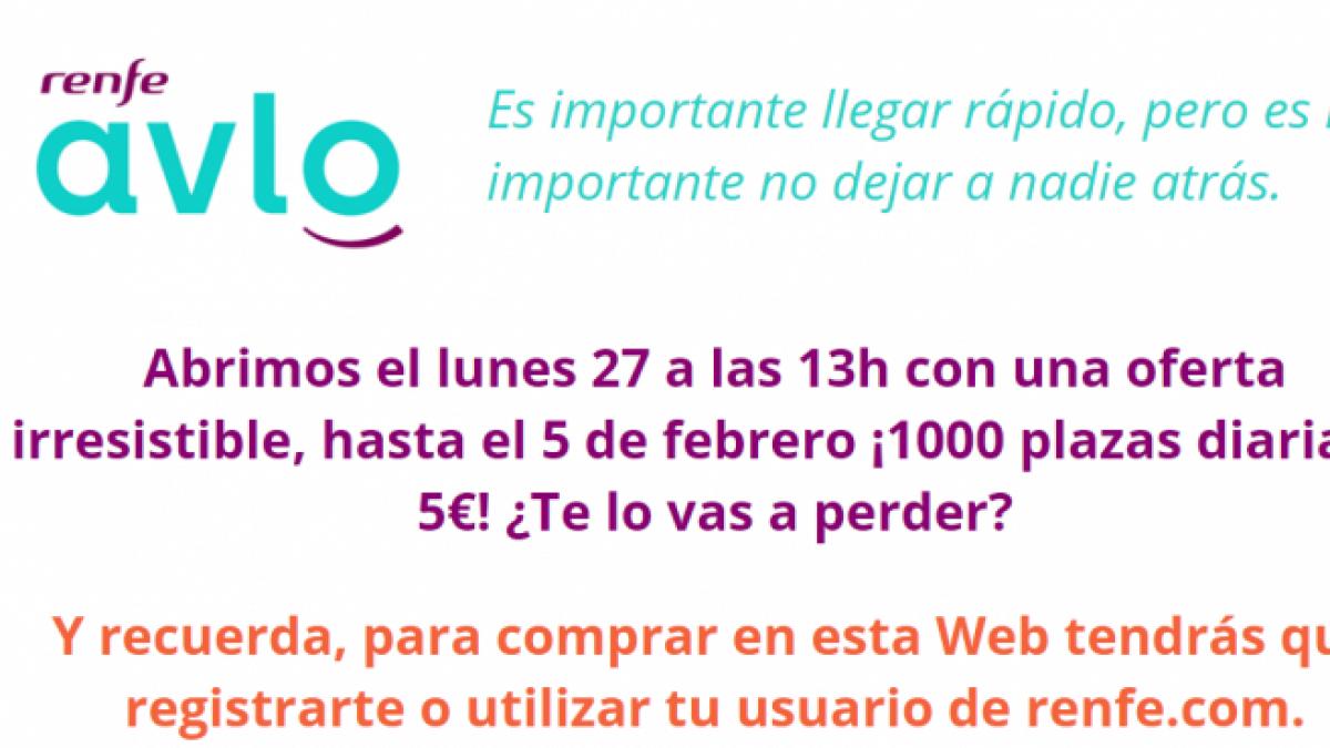 Se cae la web de Renfe al comenzar la venta de billetes de AVLO a cinco euros