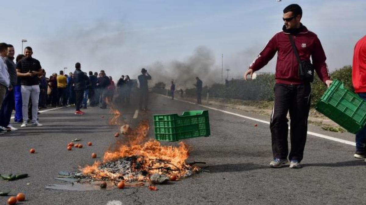 Los agricultores logran cortar la autovía en la localidad almeriense de El Ejido en su protesta por ...
