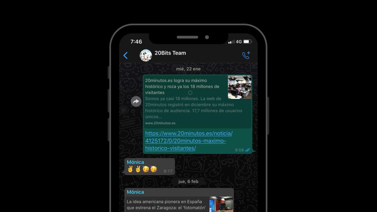 Lo último de WhatsApp para iPhone: te sugerirá contactos a la hora de compartir
