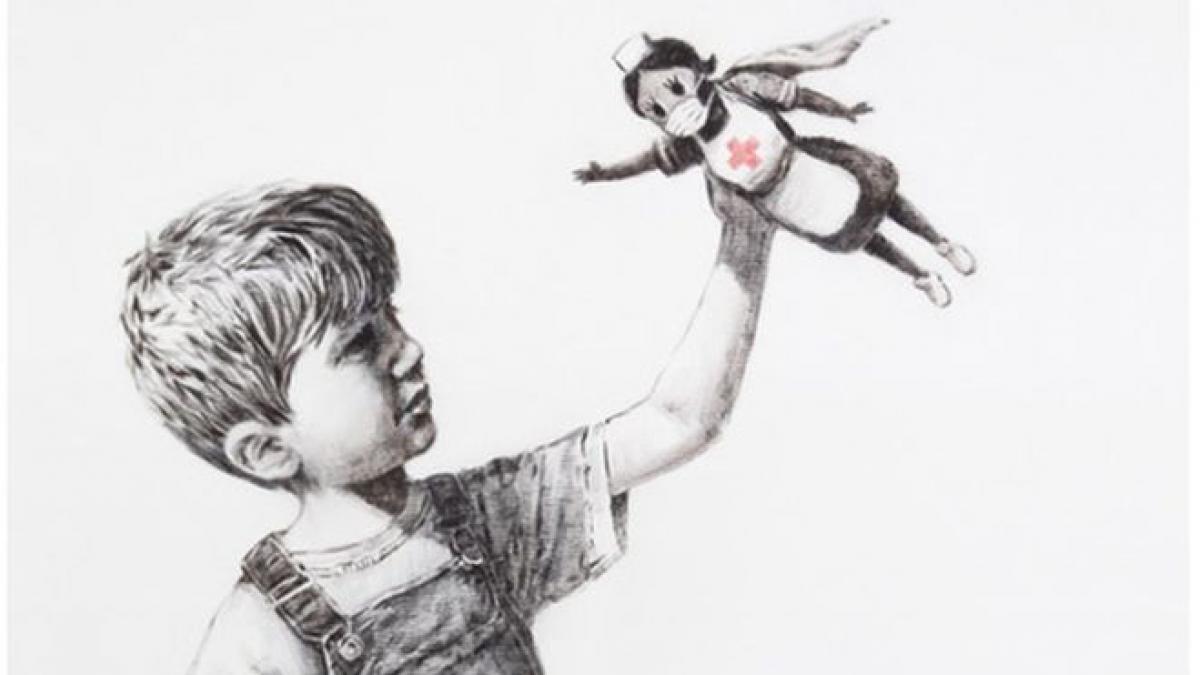 Una nueva obra de Banksy aparece en el hospital de Southampton: los nuevos héroes son los sanitarios