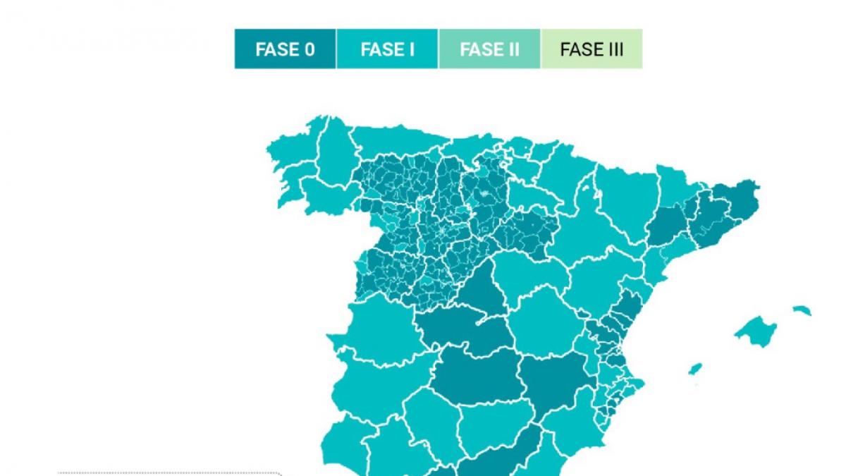 Mapa Zona Azul Valencia.Asi Queda El Mapa De Espana En La Desescalada Media Espana Empieza A Decir Adios A Las Restricciones
