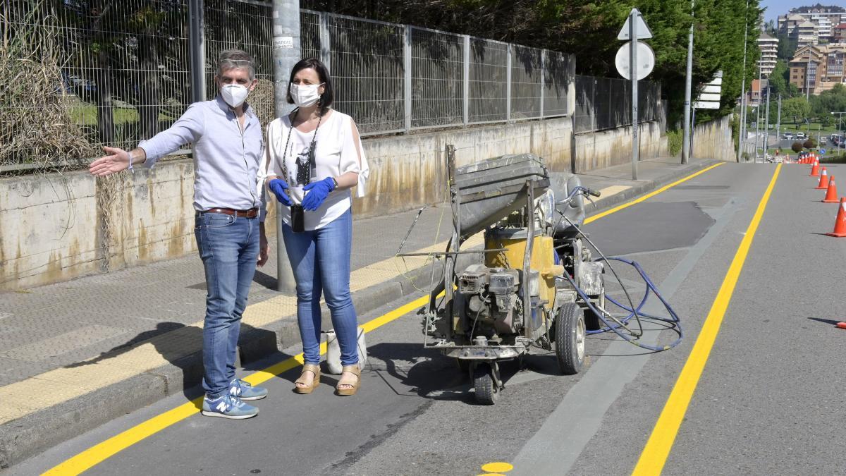 Señalizado un nuevo carril bici que conecta el Palacio de