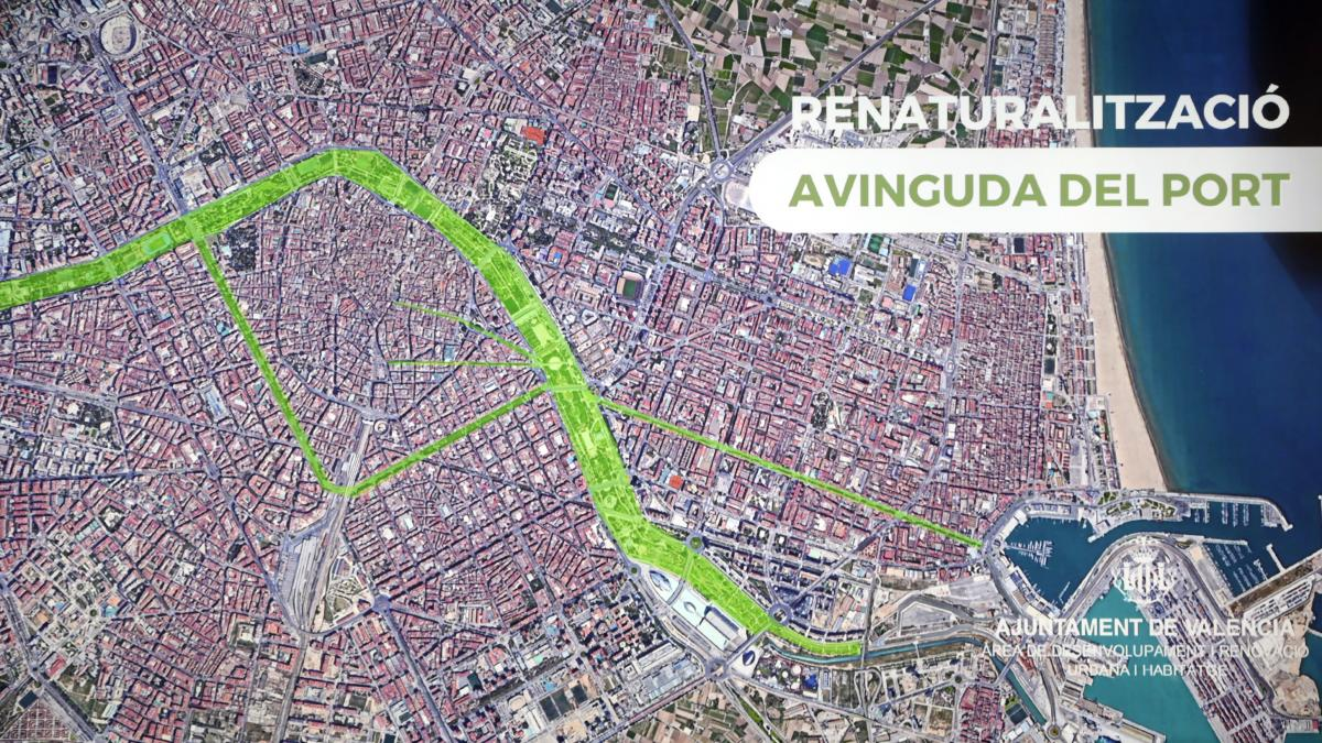 València apuesta por la avenida del Puerto como su paseo al mar tras desechar el plan de Blasco Ibáñez